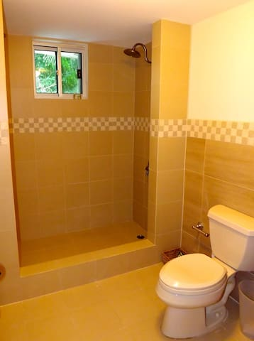 Newly renovated bathroom with twin shower heads.