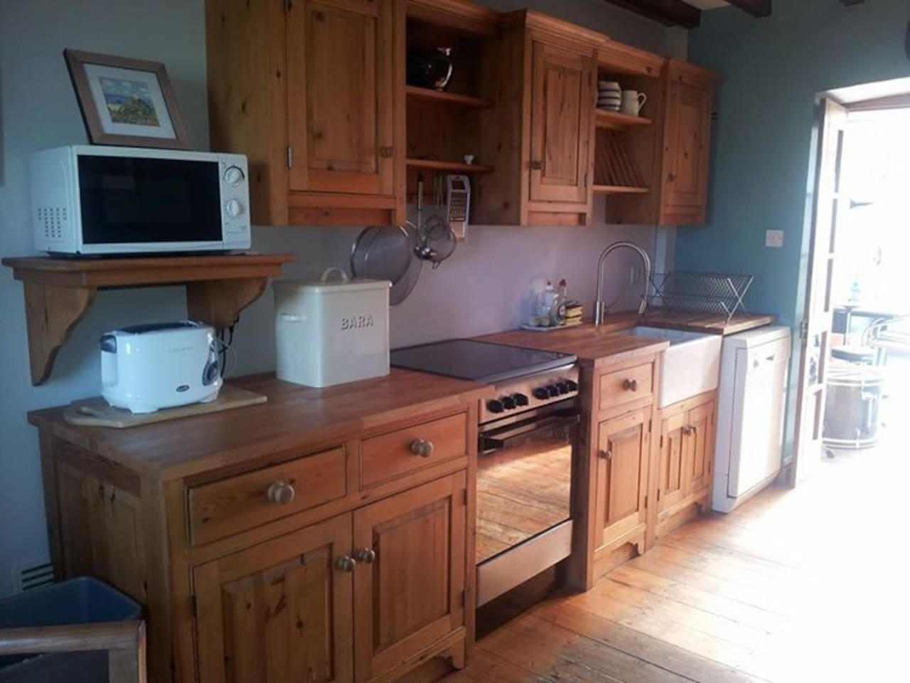 Well appointed Kitchen with double oven, fridge, freezer and microwave