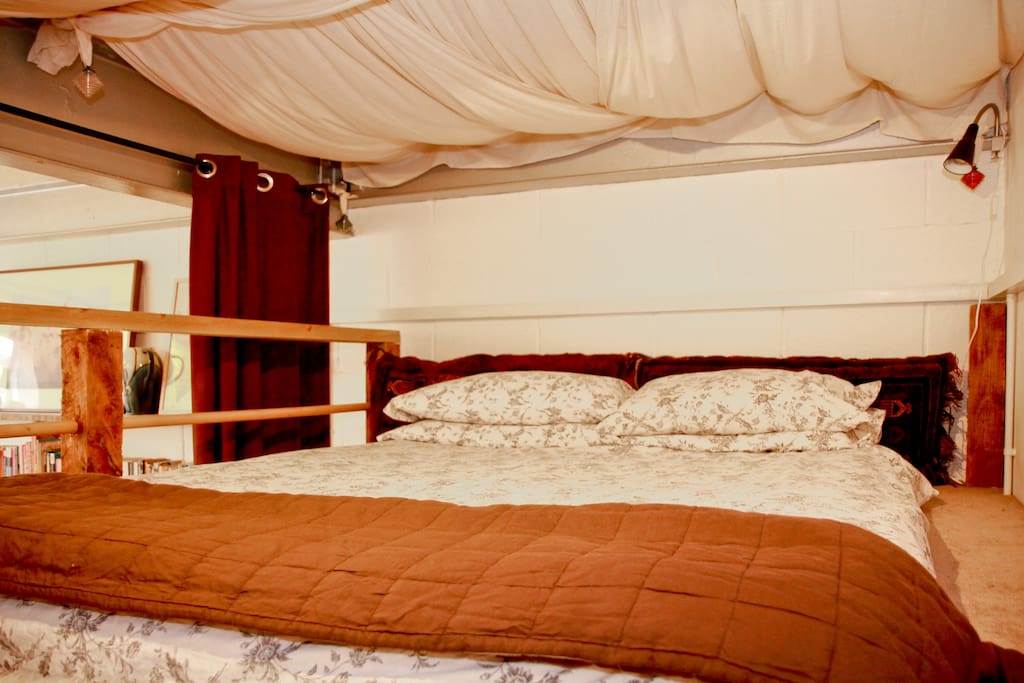 1st Bedroom - double loft space with feather pillow and light cover or duvet