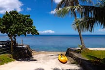 We provide snorkel equipment and life jackets at no charge.  Kayak and paddle boards available at small fee and must sign waiver form.  Only available when ocean is calm.