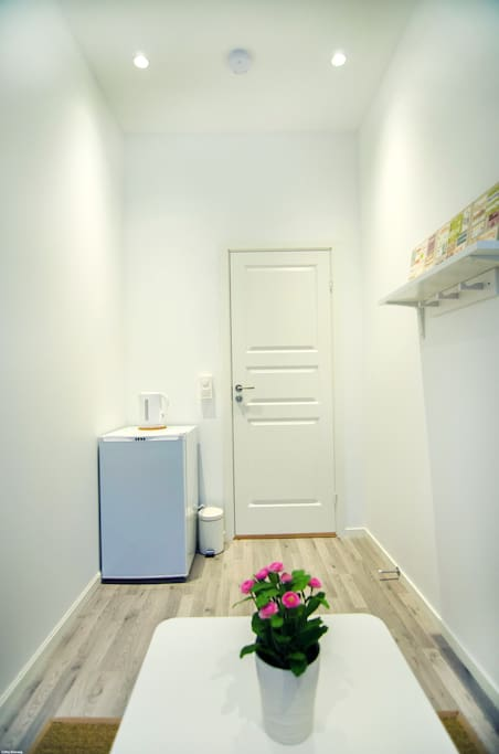 In your room you have your private fridge and water boiler. The room is newly renovated.