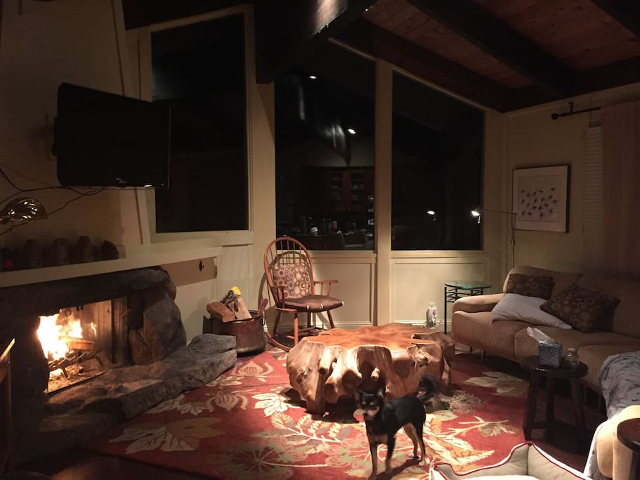 by the fire at night