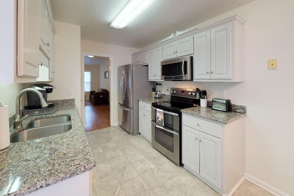 Kitchen has top of the line appliances,  as well as a Kuerig, blender, waffle maker, etc.