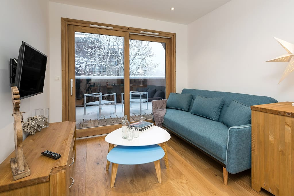 Access to large terrace with Mont Blanc views