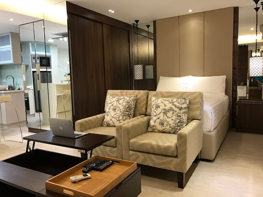 38 square meters fully furnished condominium with balcony, basement parking, cable and internet connection