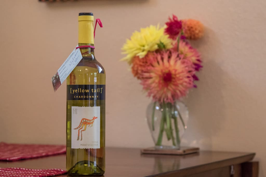 Every guest gets a bottle of wine and fresh flowers in the room.