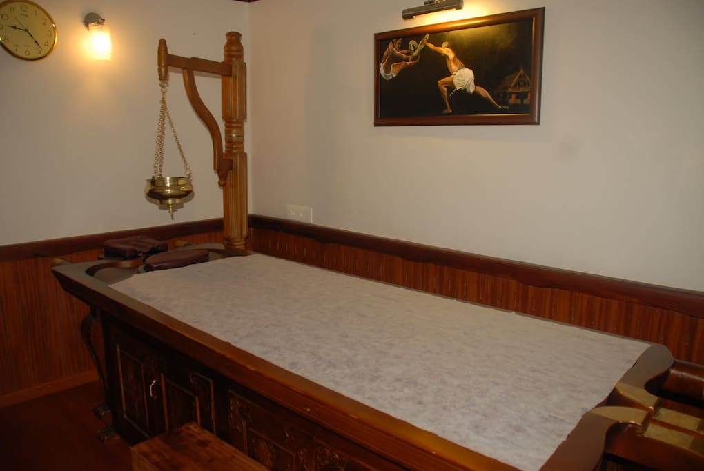 Ayurvedic Massage room with specially designed bed
