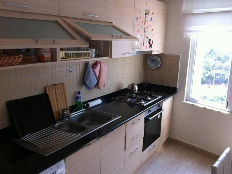 Кухня оборудована всем необходимым для проживания (Холодильник, посудомойка, духовка и т.д)