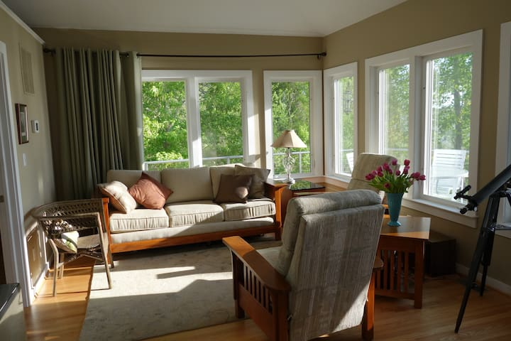 Cozy comfortable conversation area with great views. Also sleeps 2 on pull out sofa