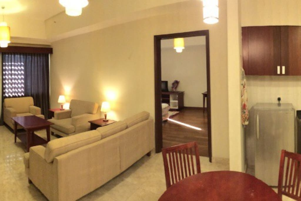Panoramic view inside the apartment