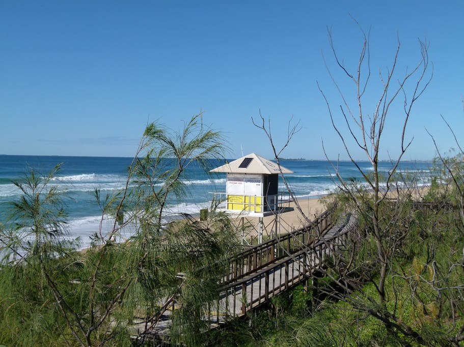 The beach and boardwalk at Mt Coolum