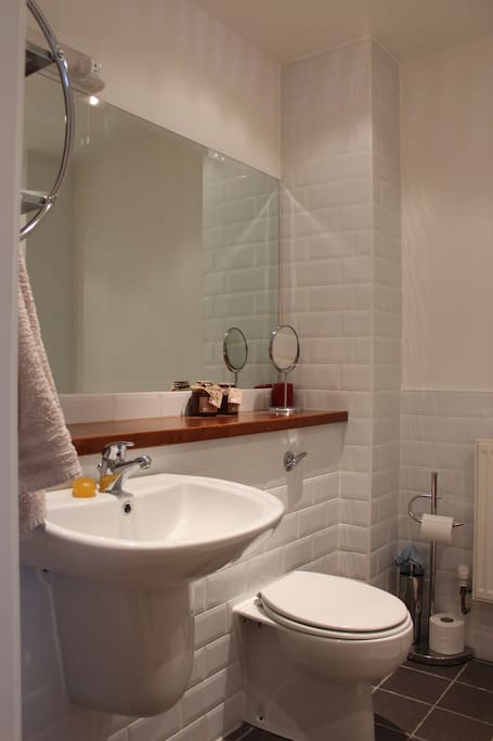 Main bathroom for the exclusive use of guests.  Very modern and clean.  Towels provided.