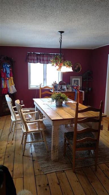 Dining room with farmhouse table