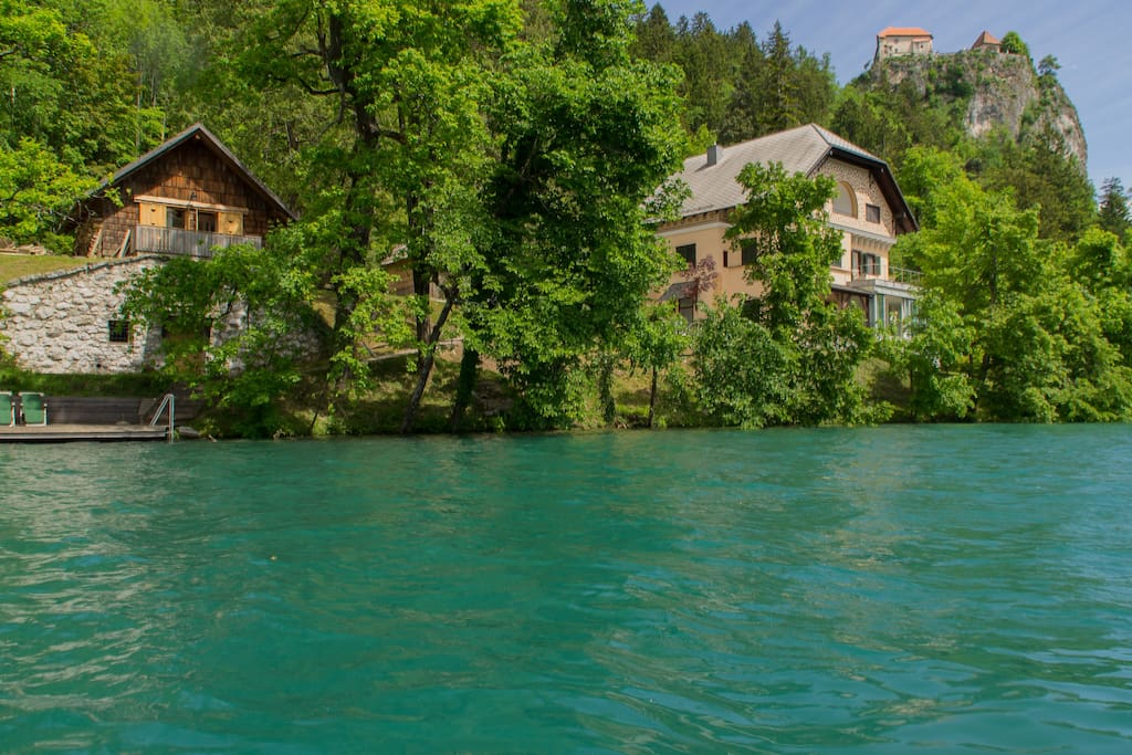 View of the cottage from Lake Bled