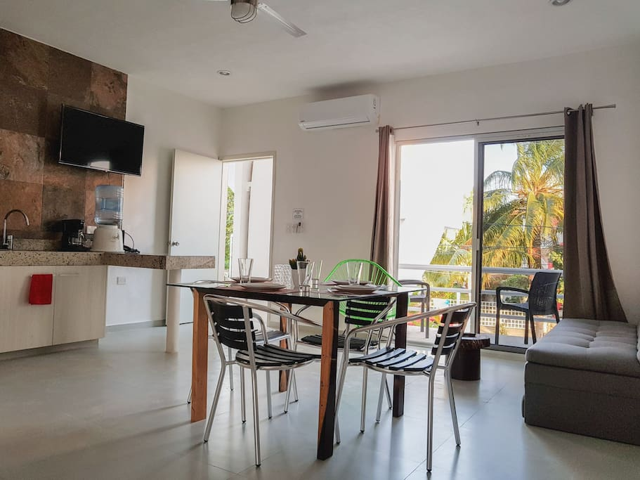 kitchen and dinning with balcony view
