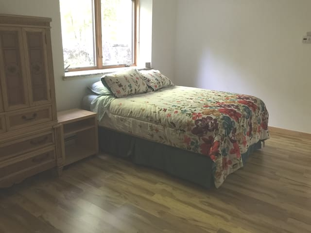 Compfy bed - Yes there is a full privacy shade in the master bedroom (someone asked)