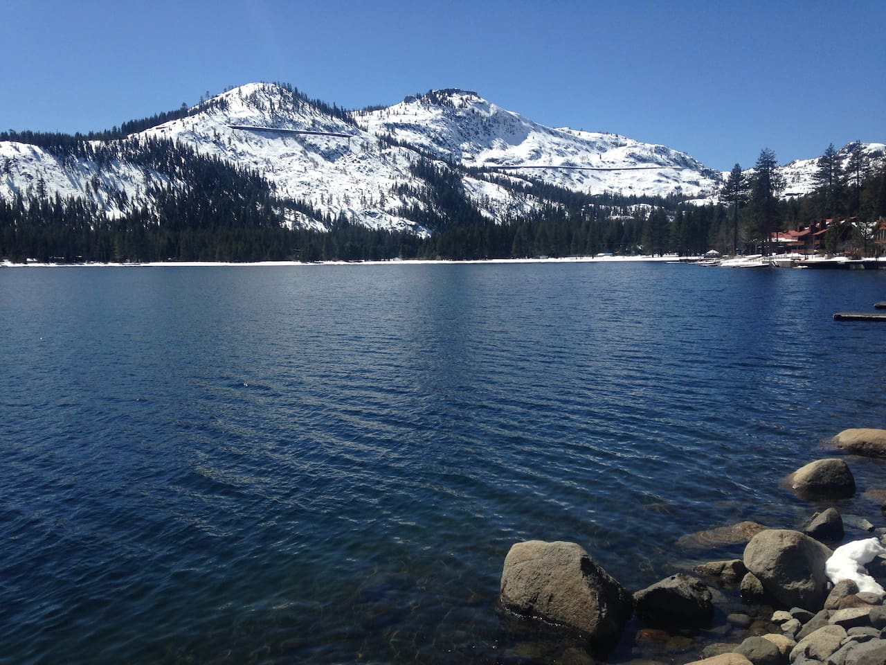 Looking toward Sugar Bowl Ski Resort from Donner Lake boat launch. The lake is a short drive down the hill from the suite location (3.5 miles).