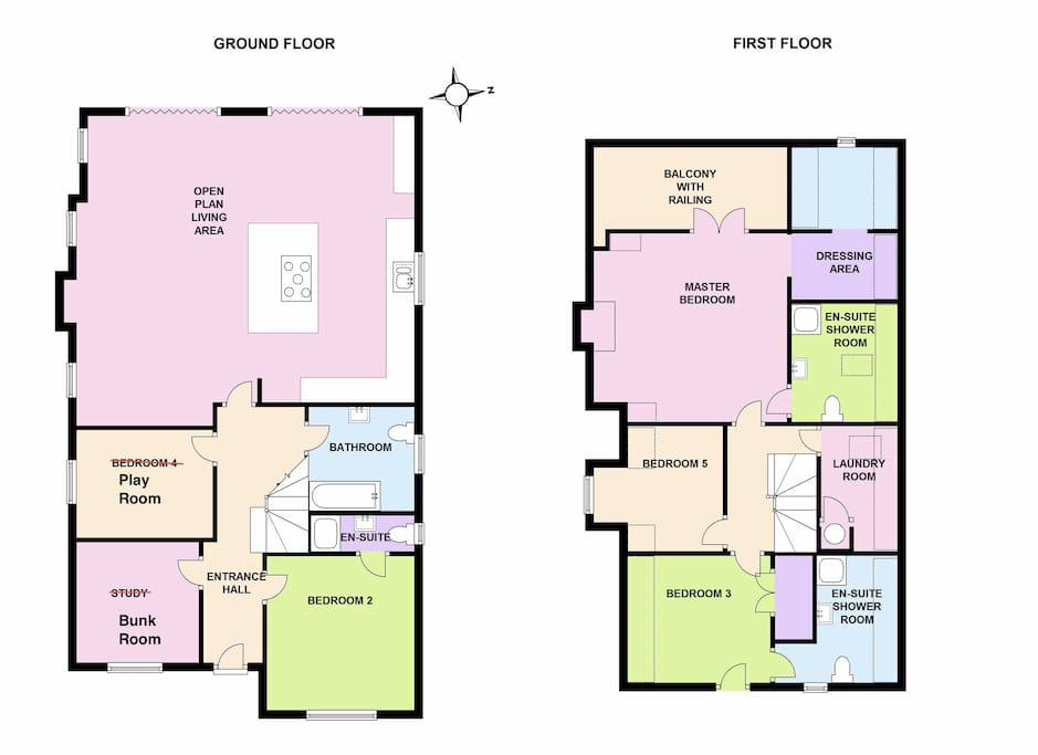 Floorplan - please note study and bedroom 6 have been recently refurbished to create bunk and play room.