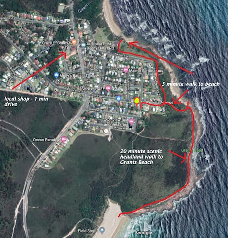 location of property - walking distance to beaches and shops