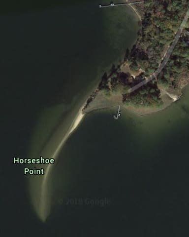 Google Earth shows Horseshoe Point is a peninsula jutting out into the St. Marys River. Water views from every vantage point. See the Sunrise AND the Sunset.