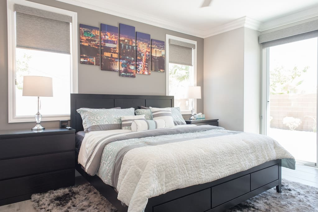 Beautiful master suite with King Size Bed and plenty of storage providing comfort and luxury for both short term and extended stays!