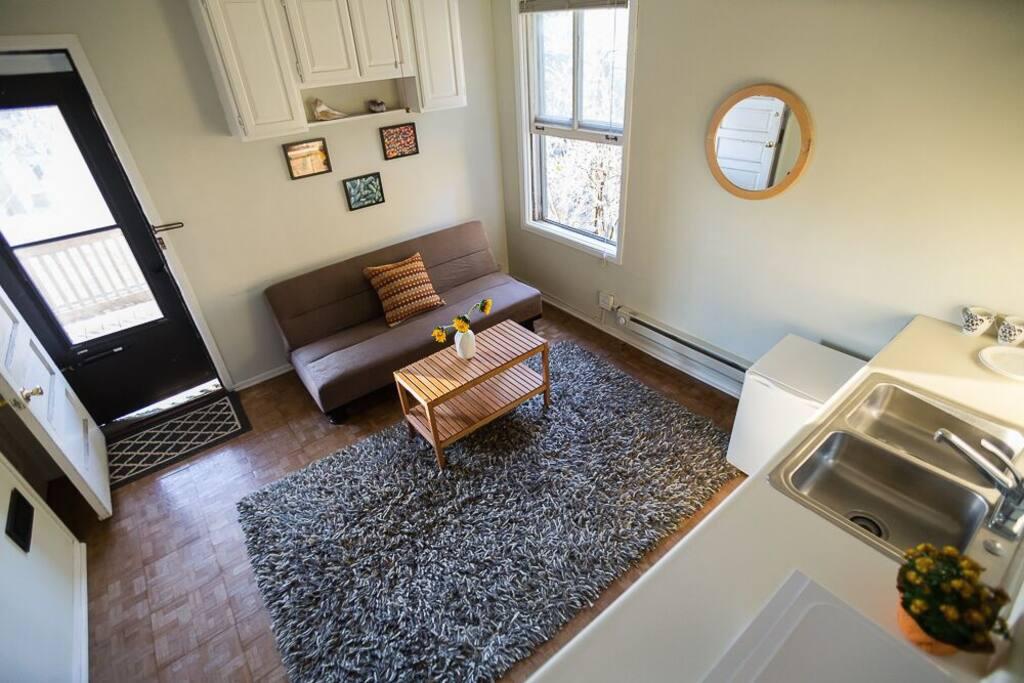 Efficiency kitchen w/fridge, microwave, and sink