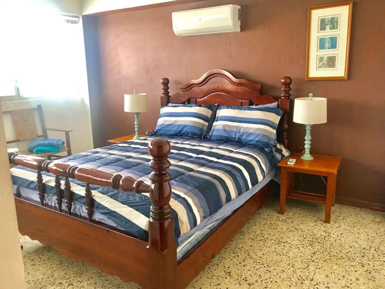 Master bedroom: one queen bed