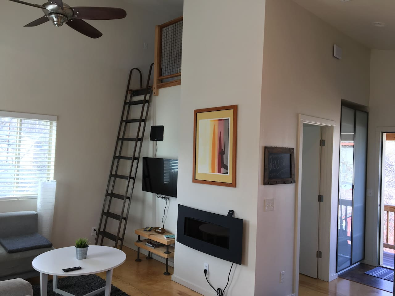 Bright, open airy loft, with tall ceilings all the amenities for a comfortable stay in our home.