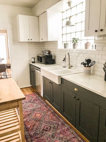 Cook a beautiful meal in our fully equipped kitchen. We want you to have all the comforts of home so we have a kurig, electric teakettle, blender, toaster and more!