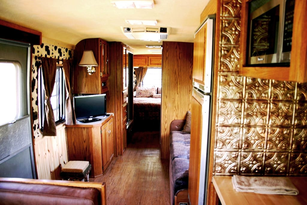 The interior of this Airstream makes you feel like you've gone back in time to the Wild West