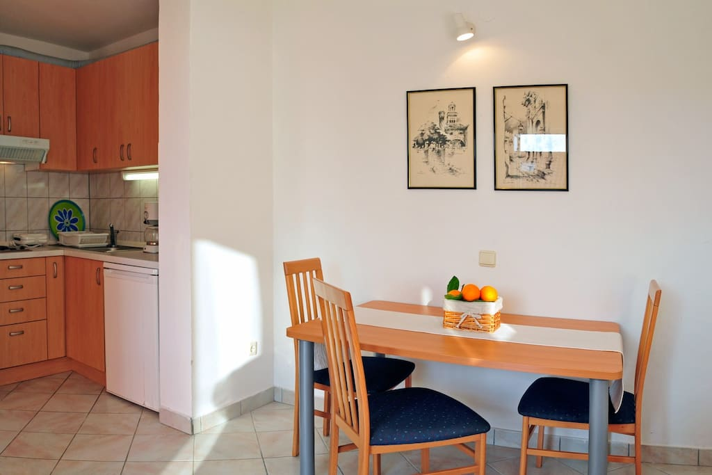 Living room and the kitchenette