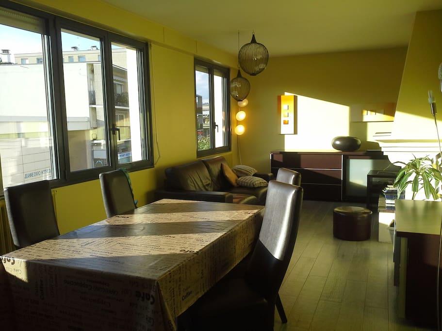 Salon avec canapé lit (2 places) et salle à manger pouvant déjeuner à 6 personnes