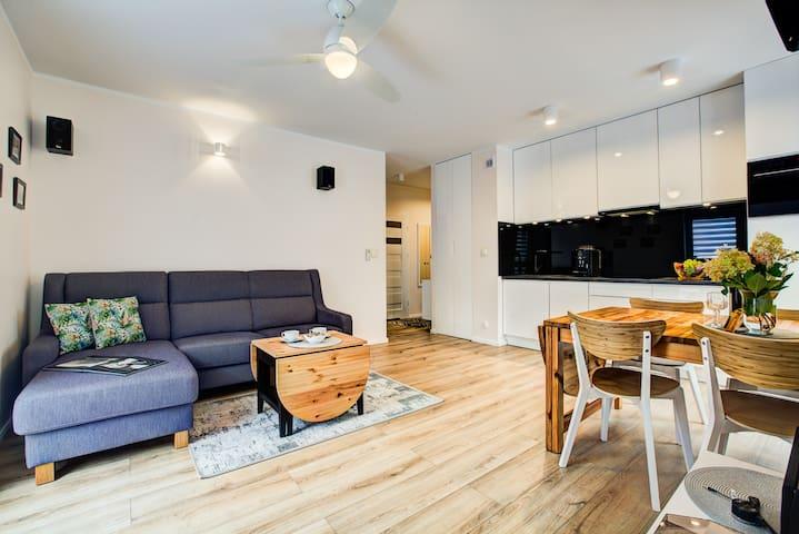 Salon z aneksem kuchennym // Living room with kitchenette