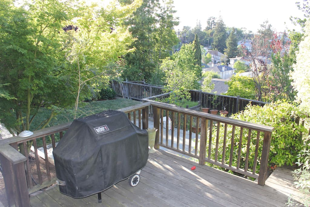 View from back door to deck with gas BBQ and backyard. (Note that grass is now brown due to drought.)