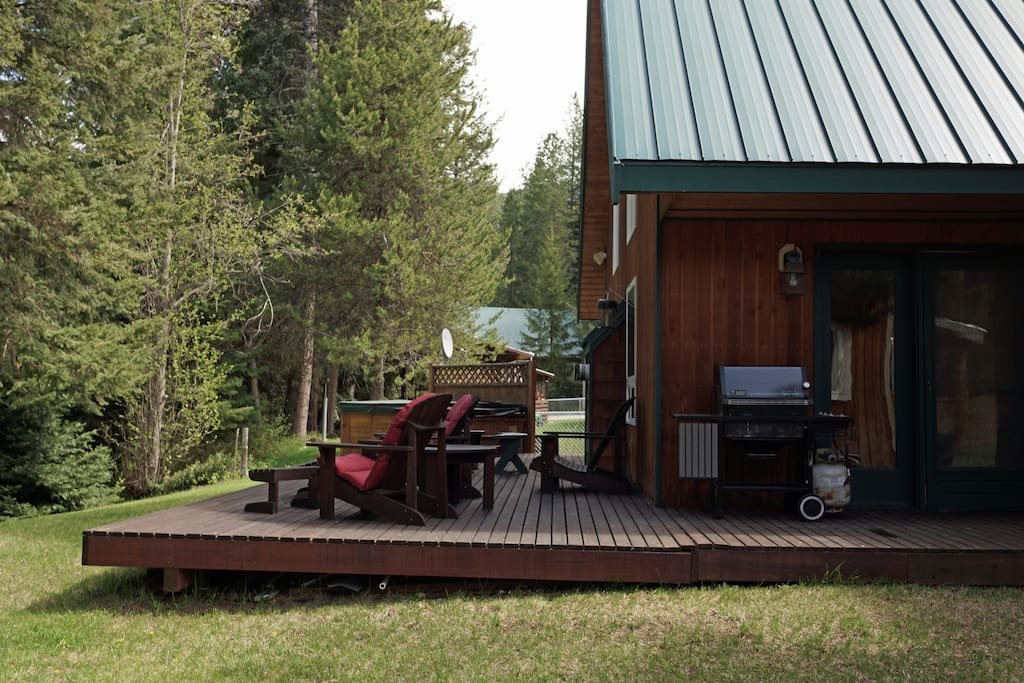 View of the spacious back deck, BBQ