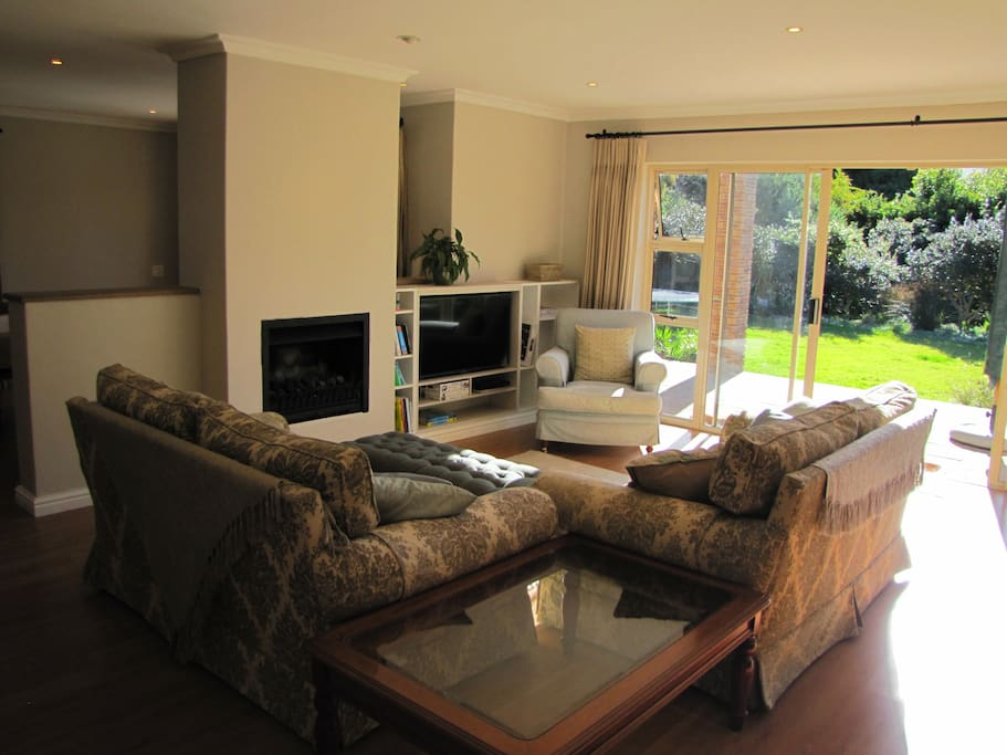 Lounge with DSTV, Blue Ray Player and Gas Fire Place