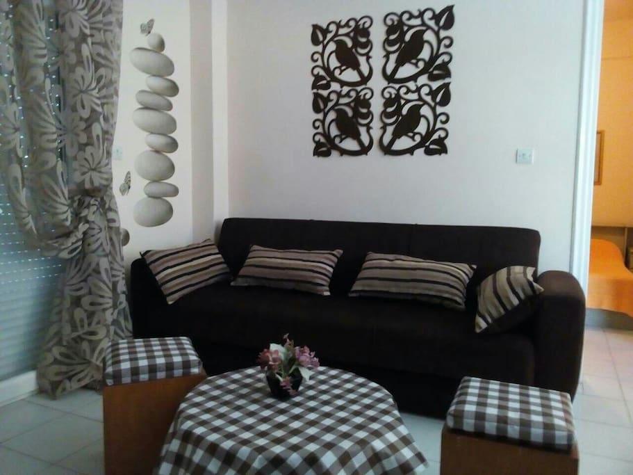 Living room. Large expandable sofa.