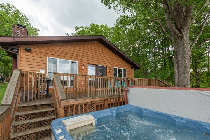 Lakefront Home w/Private Dock, Hot Tub, Wood Fireplace, & WIFI!