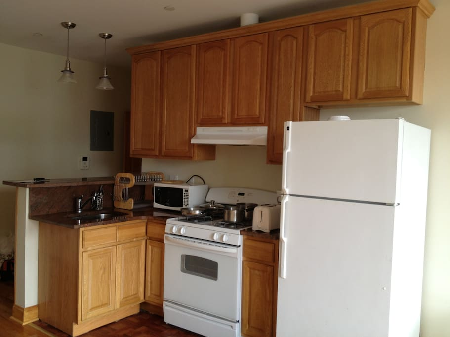 Kitchen has all necessary appliances and gadgets