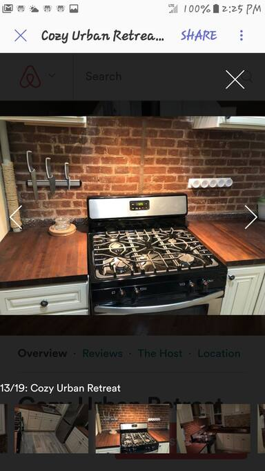 Four burner gas stove with oven.