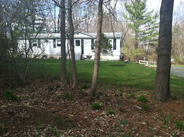 This is what the house looks like in the spring. Summer the view is covered with brush for privacy