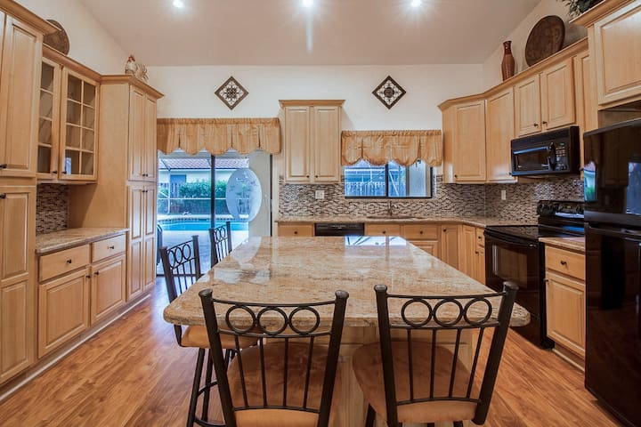 Recently renovated kitchen includes new pots, pans, dishes, spices and everything else.