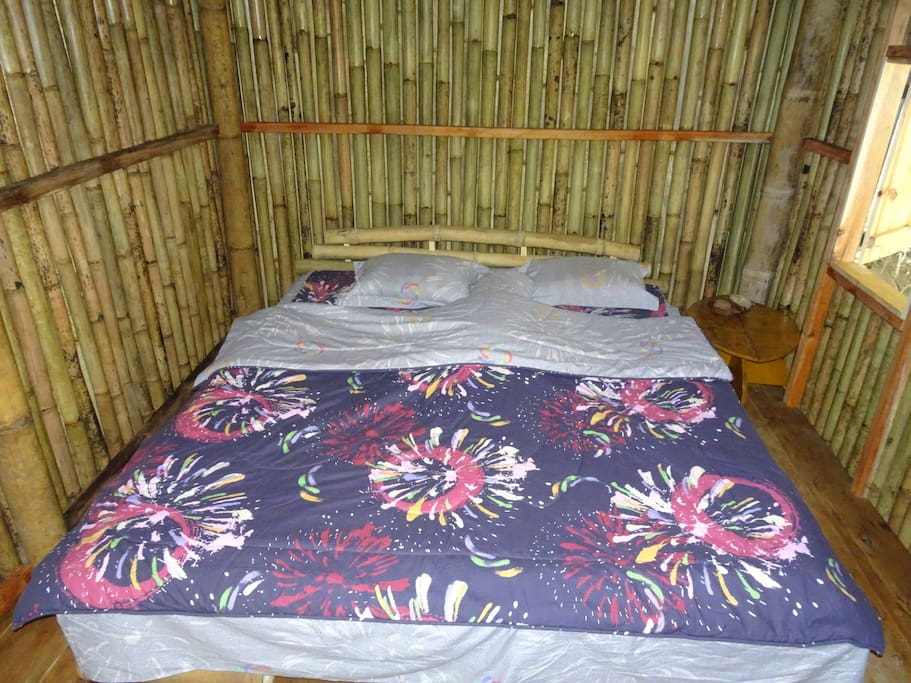 Bamboo double bed in bungalow