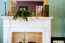 Living room : retro fireplace with stove
