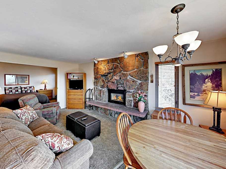 This comfy condo has a spacious open-concept design. Professionally cleaned by TurnKey.