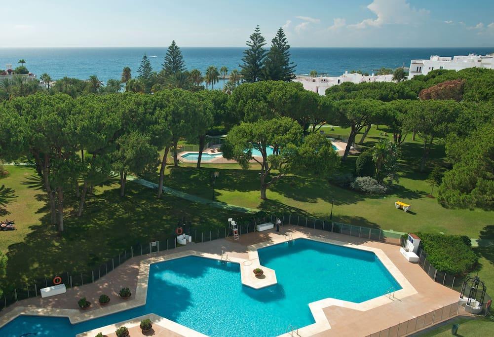 Partial aerial view of Club Playas Del Duque gardens and beach.