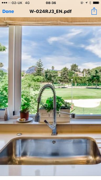 View of golf course from the kitchen