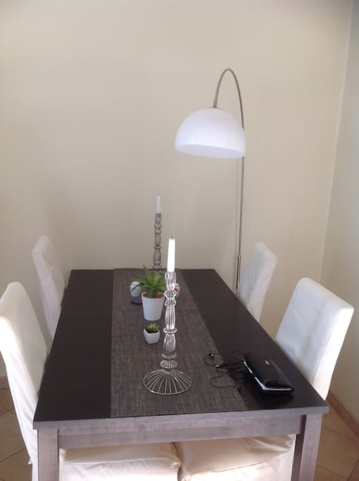 That's the dining table, it can extend to 6 people. Very simple but cool one.