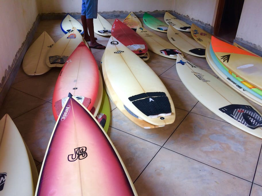 A selection of surfboards from our surf shop