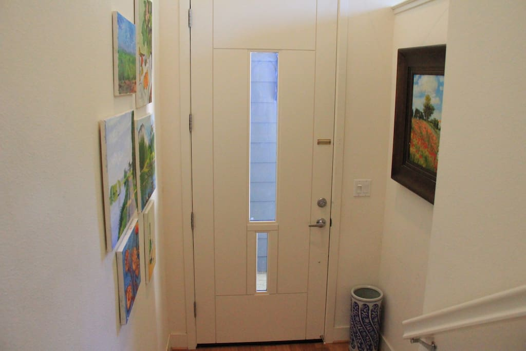 Door and paintings.